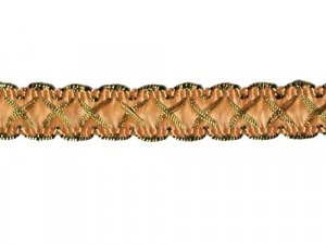 Louisa Metallic Braid - Trim #320 - Peach with Metallic Gold