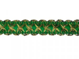 Louisa Metallic Braid - Trim #320 - Kelly Green with Metallic Gold