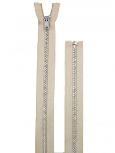 "Separating Zipper - 80"" For Coat Lining - Beige-Silver"