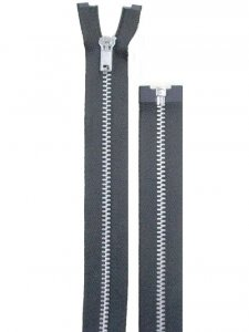 "Separating Zipper - 80"" For Coat Lining - Black-Silver"