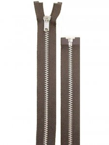 "Separating Zipper - 80"" For Coat Lining - Brown-Silver"
