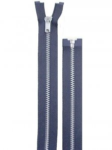 "Separating Zipper - 80"" For Coat Lining - Navy-Silver"