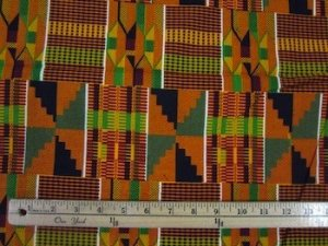 African Print Cotton Fabric - Kente Umber Print - AF14-#1