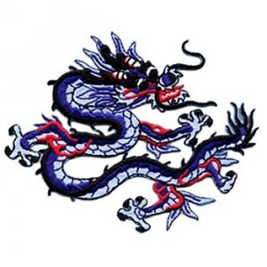 "Applique - Chinese Dragon3"" x 3.25"" wide, iron-on"