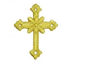 "Iron On Applique - Annulet Cross #19678 -  Gold Metallic, 2.5"" x 1.875"""