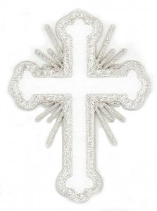 "Iron-on Applique - Budded Latin Cross with Rays #19698 - White-Silver Metallic, 3.5"" x 2.5"""