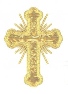 "Iron-on Applique - Budded Latin Cross with Rays #19698 - Gold Metallic,  3.5"" x 2.5"""