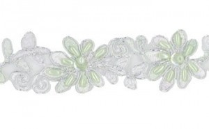 "Beaded Trim - Catherine Collection 1 1/4"" - Soft Basil"