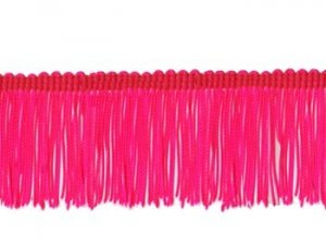 Rayon Chainette Fringe - Florescent Cerise, 2 inch