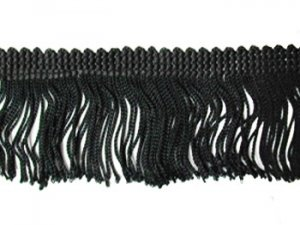 Rayon Chainette Fringe - Black #2 - 4 inch long