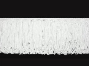 Rayon Chainette Fringe - White #1 - 4 inch