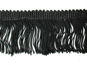 Rayon Chainette Fringe - Black #2, 6 inch