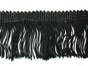 Rayon Chainette Fringe - Black #2 -  9 inch