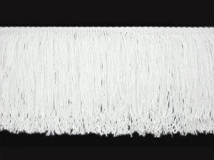 Rayon Chainette Fringe - White #1 - 9 inch