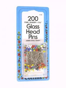 Collins Fine Glass Head Pins, 200 count