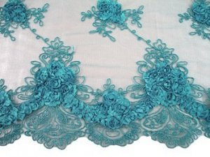 Double Border Rosette Netting - Corded Ribbon Tulle Fabric - Turquoise