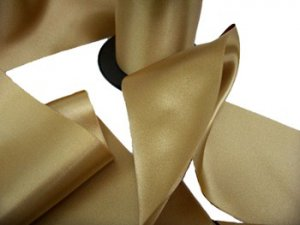"Double Faced Satin Ribbon - 3.75""  Lite Gold #80"