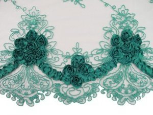 Double Border Rosette Netting - Corded Ribbon Tulle Fabric - Teal