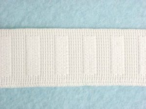 Flat Woven Non Roll Elastic - White 1""