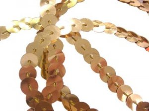 Wholesale Flat Slung Sequins Trim 6mm - Gold - 72 yards