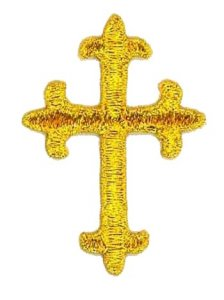 "Wholesale Iron-on Applique - Fleury Latin Cross #17864 - Gold Metallic, 1.875"" x 1.375"", 25pcs"