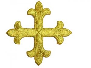 Iron-On Applique - Fleury Patonce Cross #1652D - Gold Metallic