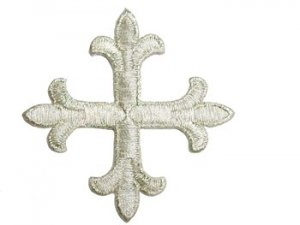 "Wholesale Iron-On Applique - Fleury Patonce Cross #1652D - Silver Metallic, 2.875"" x 2.875"", 25pcs"