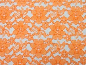 Wholesale Floral Lace - Orange,  25 yards