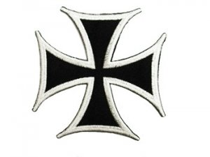 "Wholesale Iron-on Applique - Cross Pattée #9202 - White Black,  3"" x 3"", 25pcs"