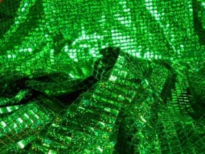 Wholesale Faux Sequin Knit - Hologram Squares - Green 25 yards