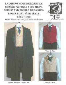 Laughing Moon #109 - Victorian Men's Frock Coat with Vests Sewing Pattern