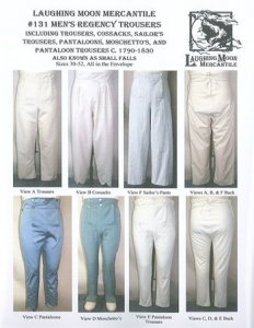 Laughing Moon #131 - Men's Regency Trousers - C. 1790-1830