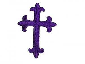 "Iron-on Applique - Fleury Latin Cross #17864 - Purple, 1.875"" x 1.375"""