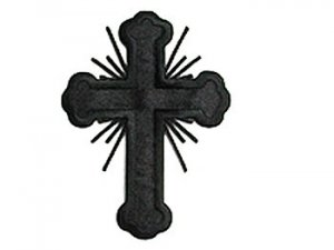 "Iron-on Applique - Budded Latin Cross with Rays #19698 - Black, 3.5"" x 2.5"""