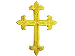 "Iron-on Applique - Fleury Latin Cross #19553 - Gold Metallic,   6.5"" x 4.75"""