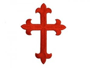 "Iron-on Applique - Fleury Latin Cross #19553 - Red,   6.5"" x 4.75"""