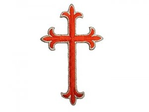 "Iron-on Applique - Fleury Latin Cross #3051 - Red-Silver Metallic, 4.5"" x 2.75"""