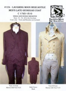 Laughing Moon #124 - Men's Late Georgian Coat C1795 - 1810 Single and Double Breasted Sewing Pattern