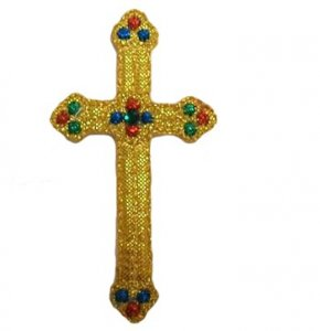 "Wholesale Iron-on Applique - Budded Latin Cross #15706 - Gold Metallic, 2.25"" x 1.25"", 25pcs"