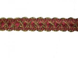 Louisa Metallic Braid - Trim #320 - Burgundy with Metallic Gold