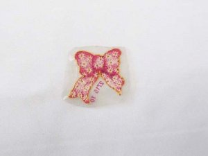 Caviar Beaded Appliques- Small Pink Daisy Bow #2715-10