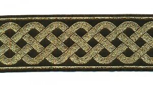 Very metallic Medieval 2 1//4 in wide fabric trim sold by the yard