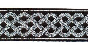 Celtic Knot Jacquard Trim - Black with Metallic Silver, 2""