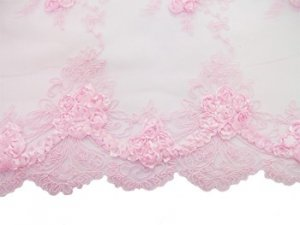 Double Border Rosette Netting - Corded Ribbon Tulle Fabric - Pink