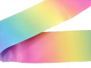 Wrights 2-inch 4 3//4 yd Single Fold Satin Fancy Blanket Binding Rainbow