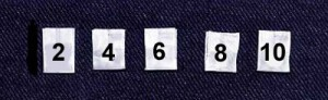 Wholesale Clothing Labels - Even Numbered Sizes 2 thru 44,      1,000