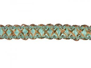 Louisa Metallic Braid - Trim #320 - Aqua with Metallic Gold