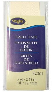"Wrights Wide Twill Tape #301 - Oyster #028  -  1/2"" wide"