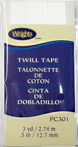 "Wrights Wide Twill Tape #301 - White #030  -  1/2"" wide"