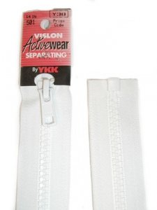 "YKK Separating Zipper - One Way Opening, 14"" - #501 White"